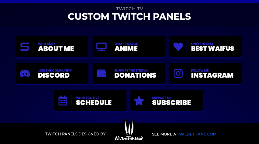 Samonstegall Custom Blue Twitch Panels designed by WildeThang