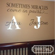 Sometimes Miracles Come in Pairs 16 Inch High Monograms and verse Vinyl Wall Decal