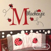 Ladybug Monogram Vinyl Wall Decal