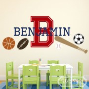 Monogram Sport Theme Baseball Soccer basketball Football Vinyl Wall Decal