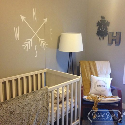 Compass Vinyl Wall Decal Circle North South East West
