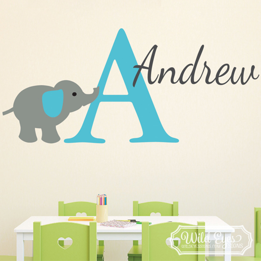 Elephant Personalized Monogram Jungle Theme Vinyl Wall Decal
