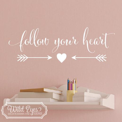 Follow your heart, saying living room, teen girl decor, arrows modern decal