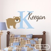 Bear Personalized Monogram Forest Theme Vinyl Wall Decal
