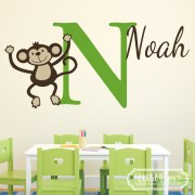 Monkey Personalized Monogram Jungle Theme Vinyl Wall Decal