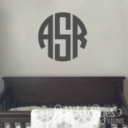 Circle monogram Vinyl Wall Decal