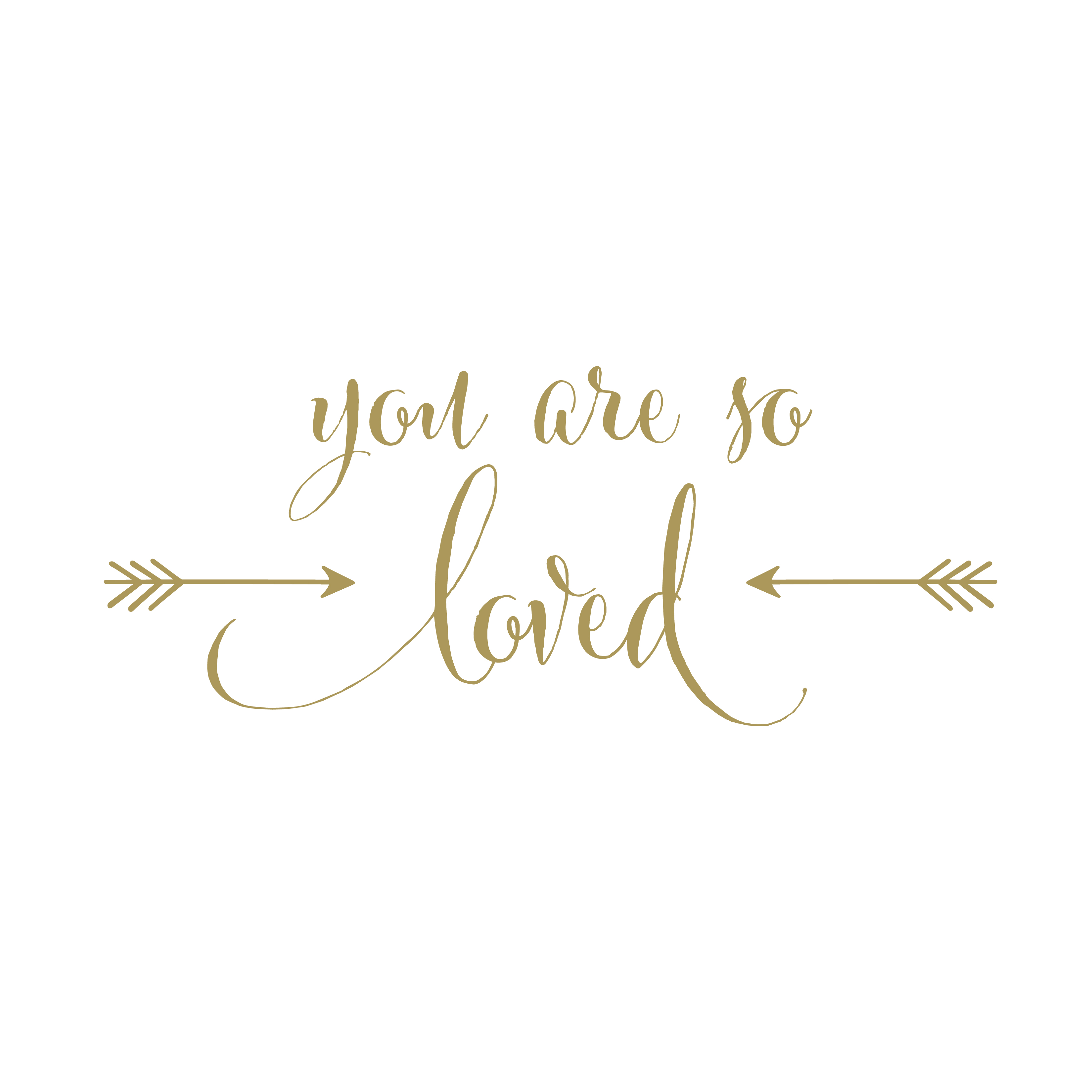 Very You are so Loved Vinyl Wall Decal version 2, arrows, gold, Nursery  IO68