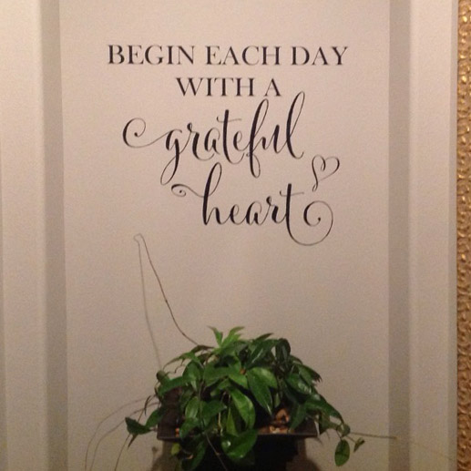 Begin each day with a grateful heart Vinyl Wall Decal