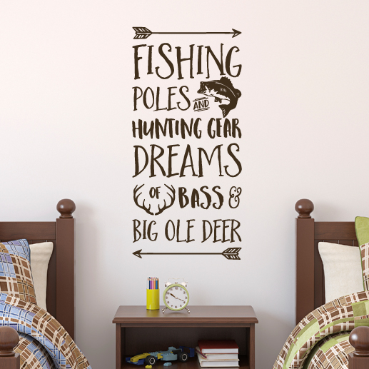 Fishing Poles and Hunting Gear Vinyl Wall Decal