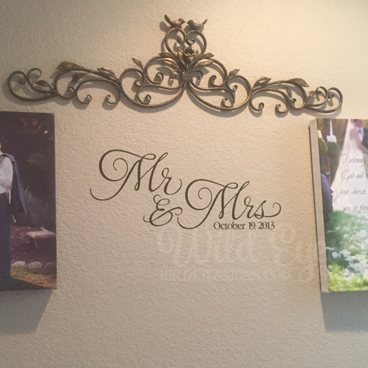 Mr And Mrs Vinyl Wall Decal By Wild Eyes Signs Wedding Decal Anniversary Master Bedroom Wall Lettering Romantic Mr And Mrs Wall Decor Hh2058