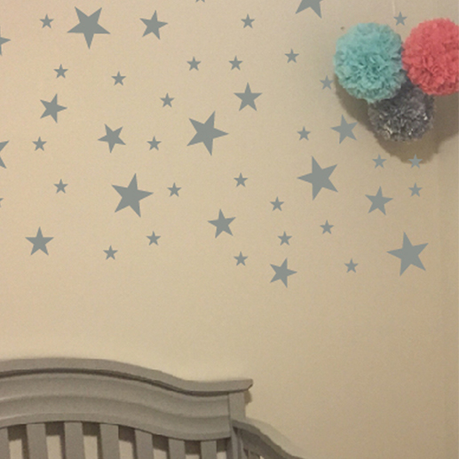 Gold or Silver Stars Vinyl Wall Decal