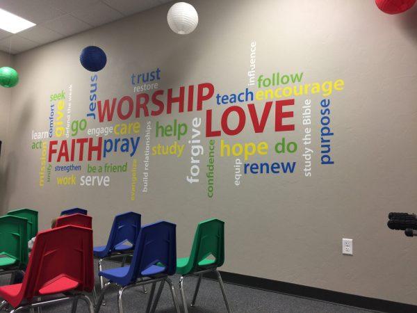 Faith Worship Love Word collage Vinyl Wall Decal