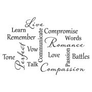 Love Marriage Word Collage Vinyl Wall Decal