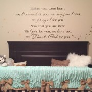 Before you were born I dreamed of you Thanked God for you Vinyl Wall Decal