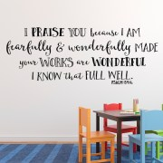 Psalm 139v14 Vinyl Wall Decal 23