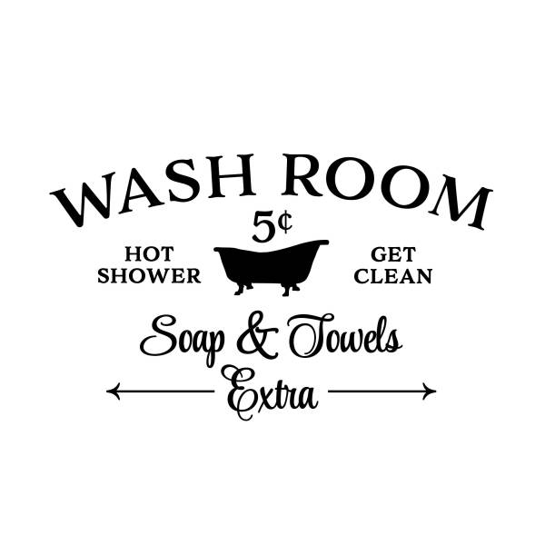 Wash Room Hot Shower Get Clean Vinyl Wall Decal