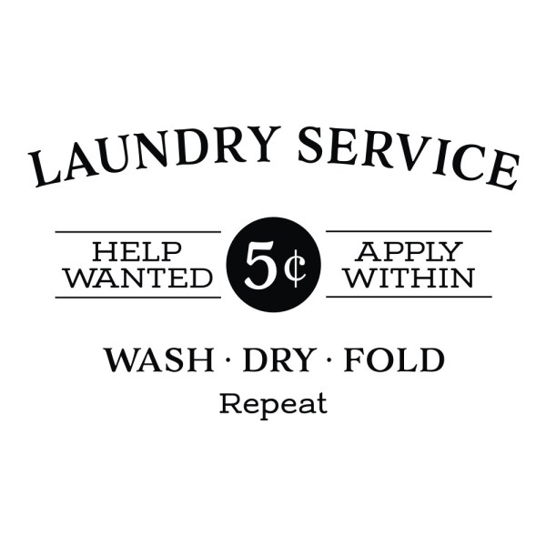 Laundry Service Help Wanted Apply Within Vinyl Wall Decal