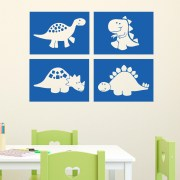 Dinosaur Blocks Set of 4 Vinyl Wall Decal