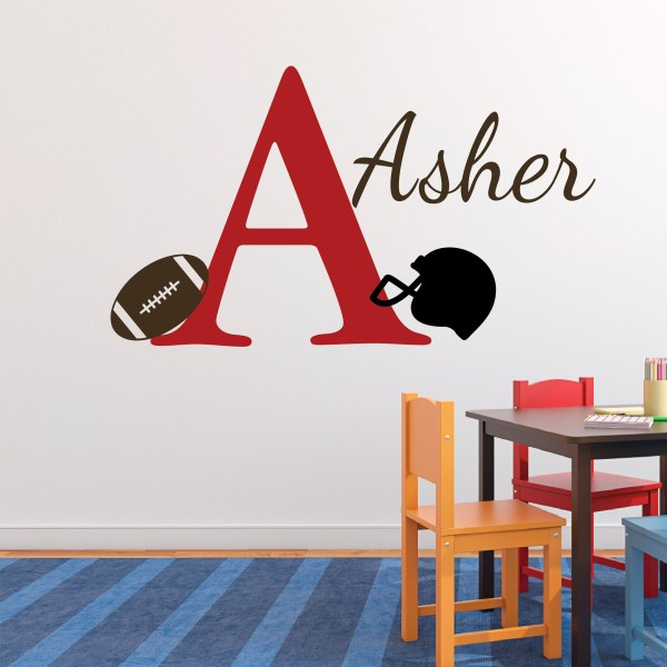 Football Monogram Sport Theme Vinyl Wall Decal
