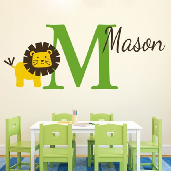 Lion Monogram Vinyl Wall Decal
