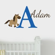 Equestrian Horse Monogram Vinyl Wall Decal
