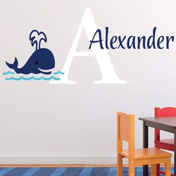 Whale Monogram Nautical Vinyl Wall Decal