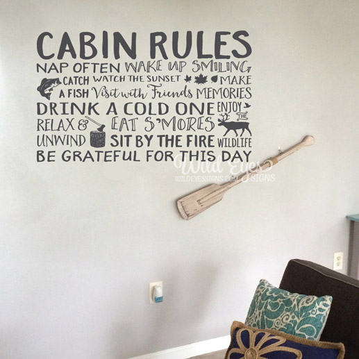 Cabin Rules Vinyl Wall Decal