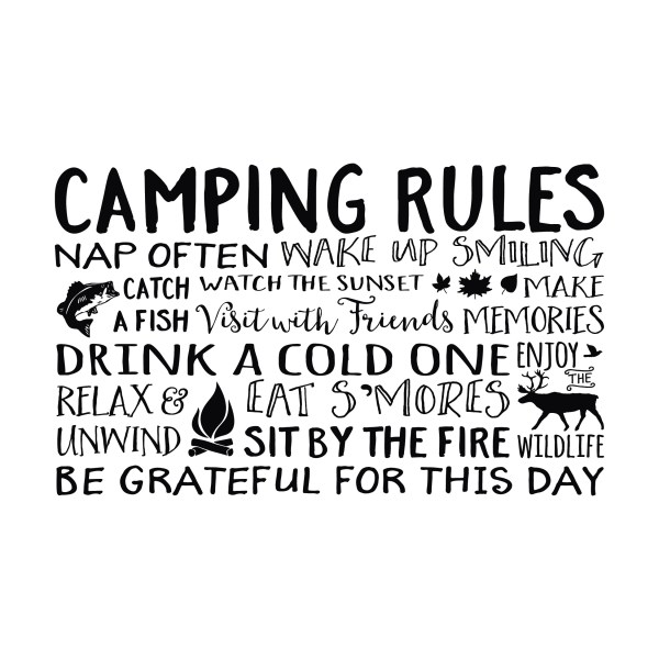 Camping Rules Vinyl Wall Decal