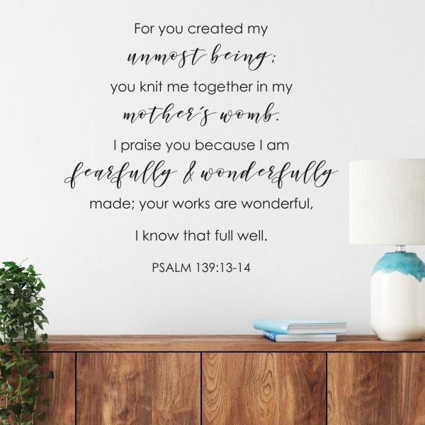 Psalm 139v14 Vinyl Wall Decal 29