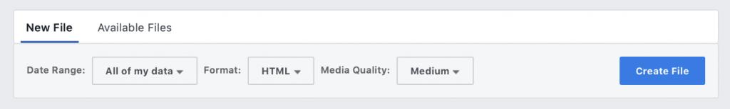 Facebook Download options