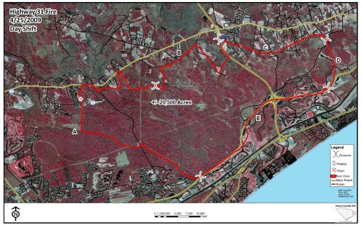 Myrtle Beach fire map