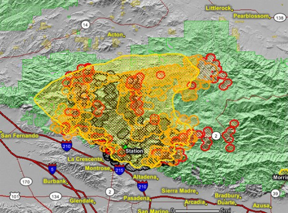 Updated Map Of Station Fire 12 26 P M Aug 31 Wildfire Today
