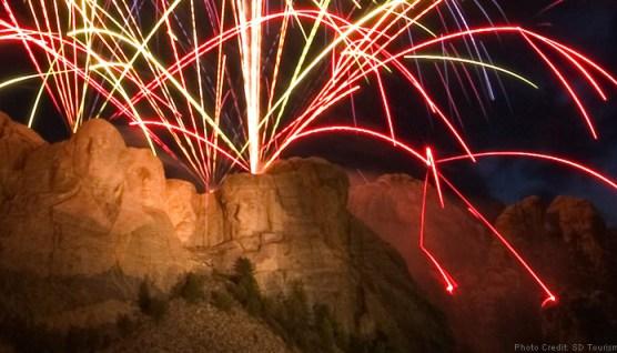 Mount Rushmore fireworks embers hitting ground