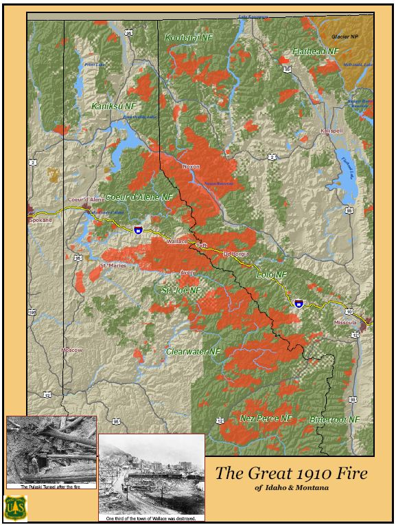 Spokane Wildfire Map.1910 Fires Wildfire Today