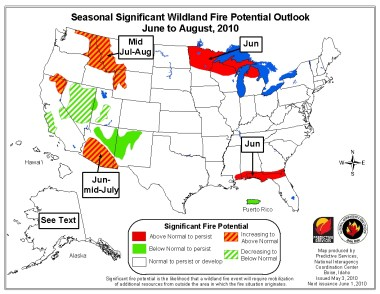 Wildfire outlook, June-August, 2010