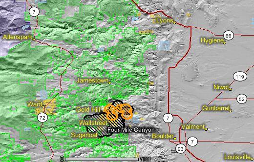 map of Fourmile fire near Boulder