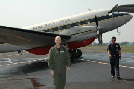 MAFFS training in Thailand. DC-3 air tanker.