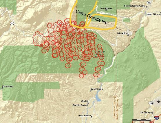 Map of Las Conchas fire, 3:55 a.m. MT, 6-27-2011
