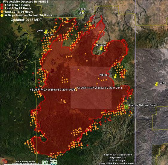 Map of Wallow fire, data 2350 6-8-2011