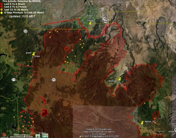 Map of Wallow fire north side, data 1148 6-9-2011