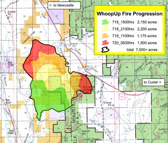 Whoopup fire progression map July 20 2011
