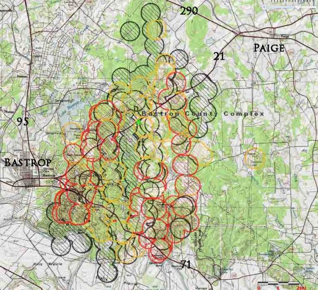 Map of Bastrop fire in Texas 9-6-2011