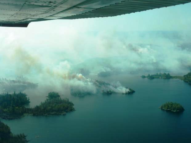 Pagami Creek fire, burns along lake shore