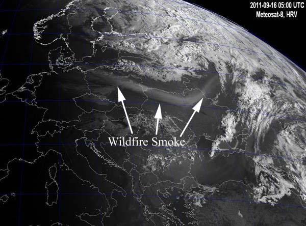 Pagami Creek fire smoke over eastern Europe, 0500 UTC 9-16-2011