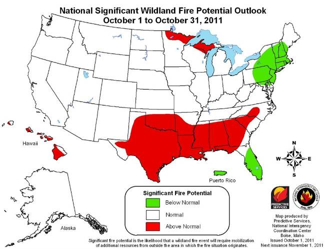 Wildfire outlook October 2011