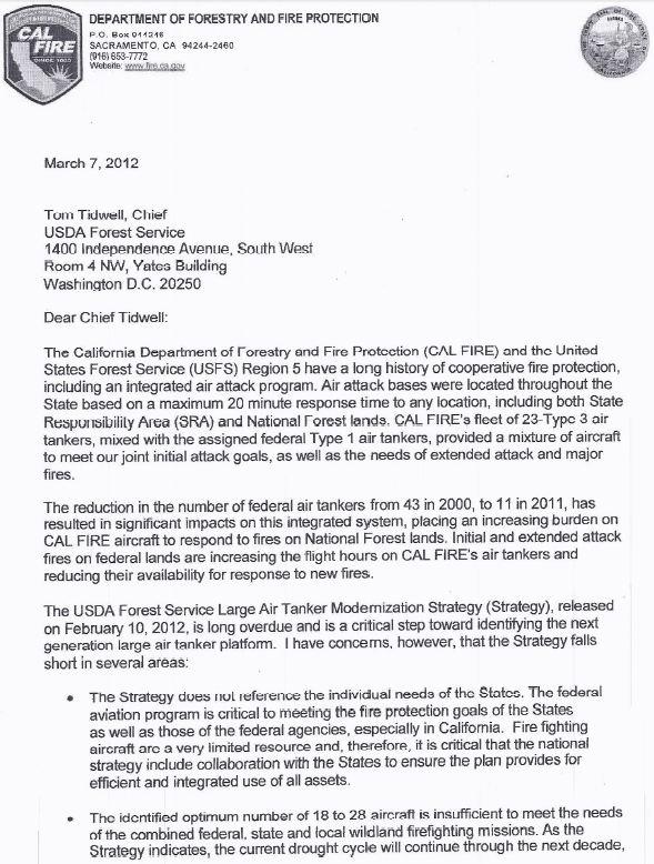 CALFIRE air tanker letter