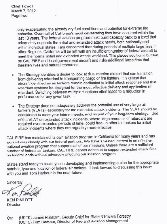 CAL FIRE letter to USFS about air tanker strategy