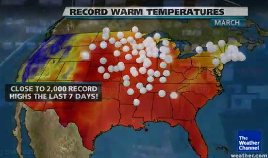 USA map record high temperatures