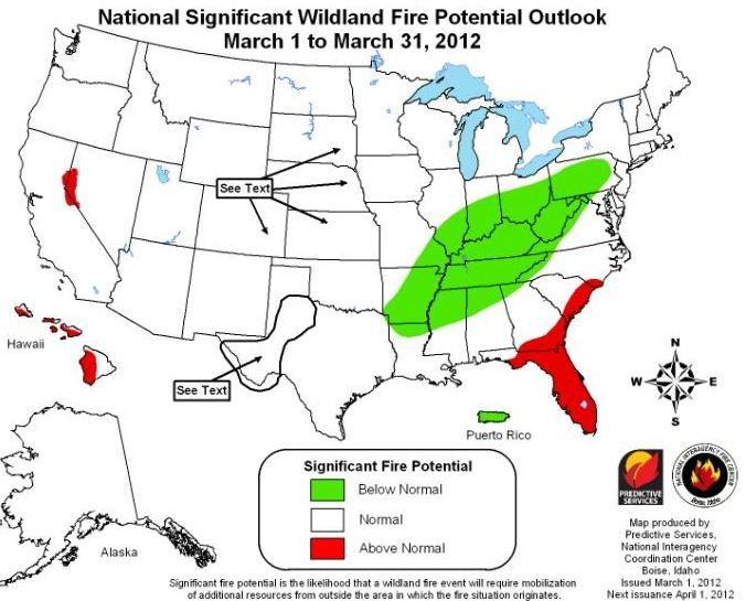 Wildfire outlook, March, 2012