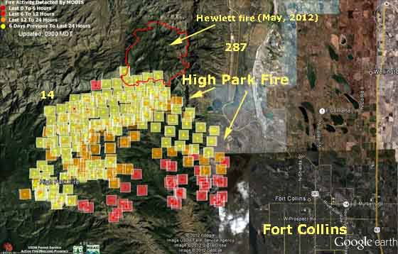 Map of High Park Fire 2:25 a.m. MT, June 11, 2012
